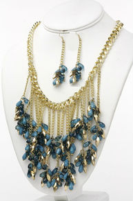 Cascading Crystal and Bead Necklace Set