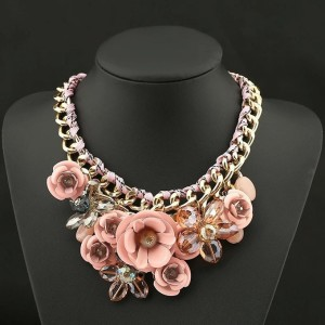 The Best Accessory's Beautiful Stone Flower and Chain Statement Necklace