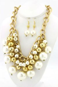 The Best Accessory's Multi-layered Pearl and Chain Statement Necklace