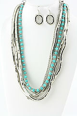 Silver and Turquois Statment Necklace